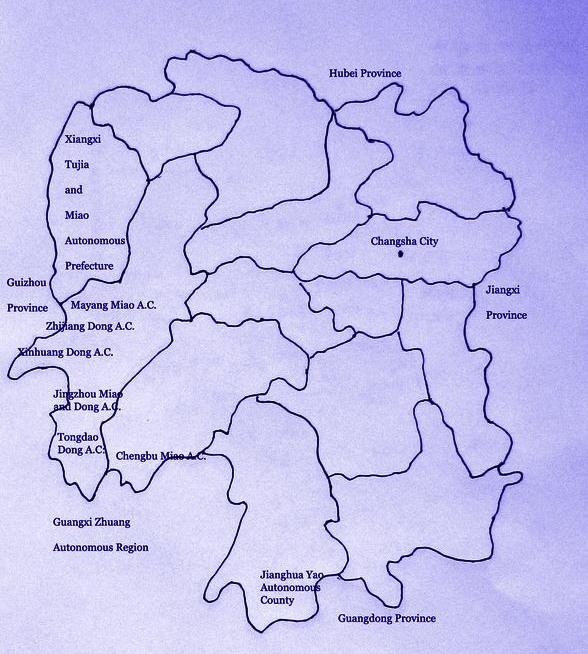Hunan Province China Map.Ethnic China Ethnic Hunan
